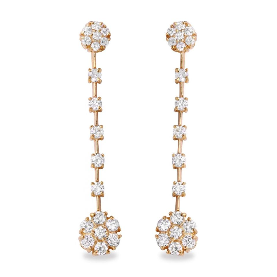 2.10 Carats Natural VS1-VS2 Diamond 14K Solid Yellow Gold Earrings