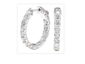 Exquisite 3.00 Carats Natural Diamond 14K Solid White Gold Hoop Earrings