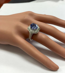 5.35 Carats Natural Very Nice Looking Tanzanite and VS1 Diamond 18K Solid White Gold Ring