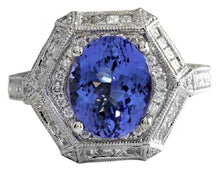 Load image into Gallery viewer, 5.35 Carats Natural Very Nice Looking Tanzanite and VS1 Diamond 18K Solid White Gold Ring
