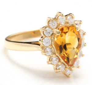 2.70 Carats Natural Very Nice Looking Citrine and Diamond 14K Solid Yellow Gold Ring