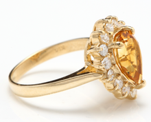 Load image into Gallery viewer, 2.70 Carats Natural Very Nice Looking Citrine and Diamond 14K Solid Yellow Gold Ring