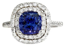 Load image into Gallery viewer, 2.80 Carats Natural Very Nice Looking AAA+ Tanzanite and Diamond 14K Solid White Gold Ring