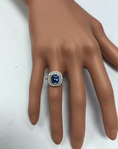 2.80 Carats Natural Very Nice Looking AAA+ Tanzanite and Diamond 14K Solid White Gold Ring
