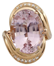 Load image into Gallery viewer, 16.18 Carats Exquisite Natural Pink Kunzite and Diamond 14K Solid Rose Gold Ring