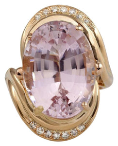 16.18 Carats Exquisite Natural Pink Kunzite and Diamond 14K Solid Rose Gold Ring