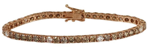 Very Impressive 9.57 Carats Natural White and Champagne Diamond 14K Solid Rose Gold Bracelet