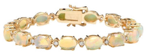 Very Impressive 20.00 Carats Natural Ethiopian Opal & Diamond 14K Solid Yellow Gold Bracelet