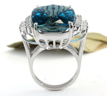 Load image into Gallery viewer, HUGE 33.40 Carats Natural Impressive LONDON BLUE TOPAZ and Diamond 14K White Gold Ring