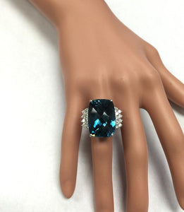 HUGE 33.40 Carats Natural Impressive LONDON BLUE TOPAZ and Diamond 14K White Gold Ring