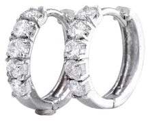 Load image into Gallery viewer, Exquisite .75 Carats Natural Diamond 14K Solid White Gold Hoop Earrings