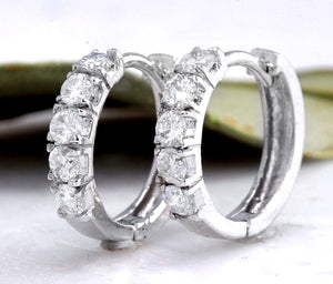 Exquisite .75 Carats Natural Diamond 14K Solid White Gold Hoop Earrings