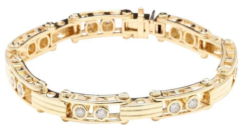 HEAVY Very Impressive 3.35 Carats Natural VS Diamond 14K Solid Yellow Gold Bracelet
