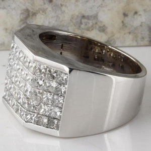 Heavy 5.65 Carats Natural Diamond 14K Solid White Gold Men's Ring