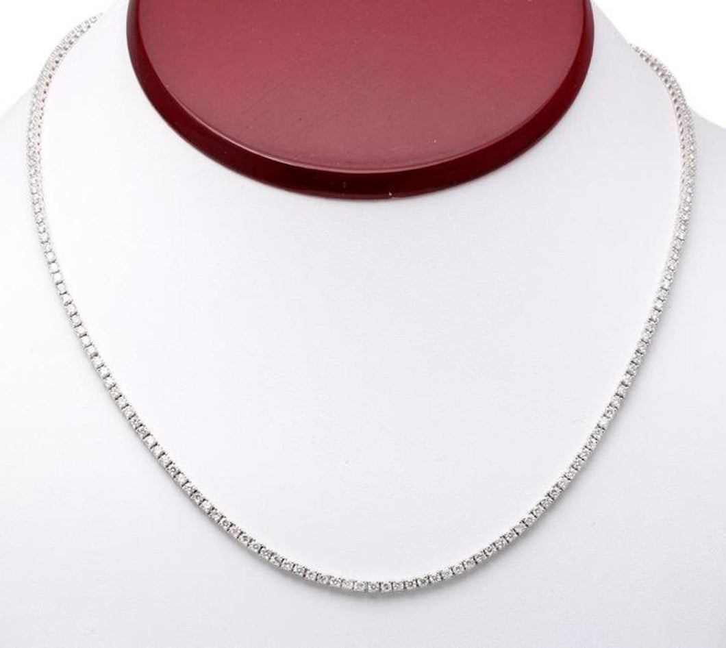 Splendid 5.45 Carats Natural Diamond 18K Solid White Gold Necklace