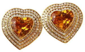 Exquisite 25.75 Carats Natural Madeira Citrine and Diamond 14K Solid Yellow Gold Earrings