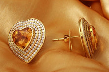 Load image into Gallery viewer, Exquisite 25.75 Carats Natural Madeira Citrine and Diamond 14K Solid Yellow Gold Earrings