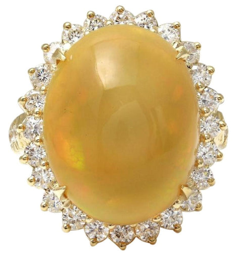 10.50 Carats Natural Impressive Ethiopian Opal and Diamond 14K Solid Yellow Gold Ring