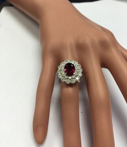 4.00 Carats Natural Very Nice Looking Tourmaline and Diamond 14K Solid White Gold Ring