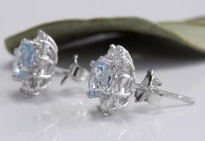 Exquisite 3.25 Carats Natural Aquamarine and Diamond 14K Solid White Gold Stud Earrings