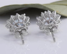 Load image into Gallery viewer, Exquisite 3.25 Carats Natural Aquamarine and Diamond 14K Solid White Gold Stud Earrings