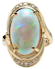 Load image into Gallery viewer, 5.35 Carats Natural Impressive Ethiopian Opal and Diamond 14K Solid Yellow Gold Ring