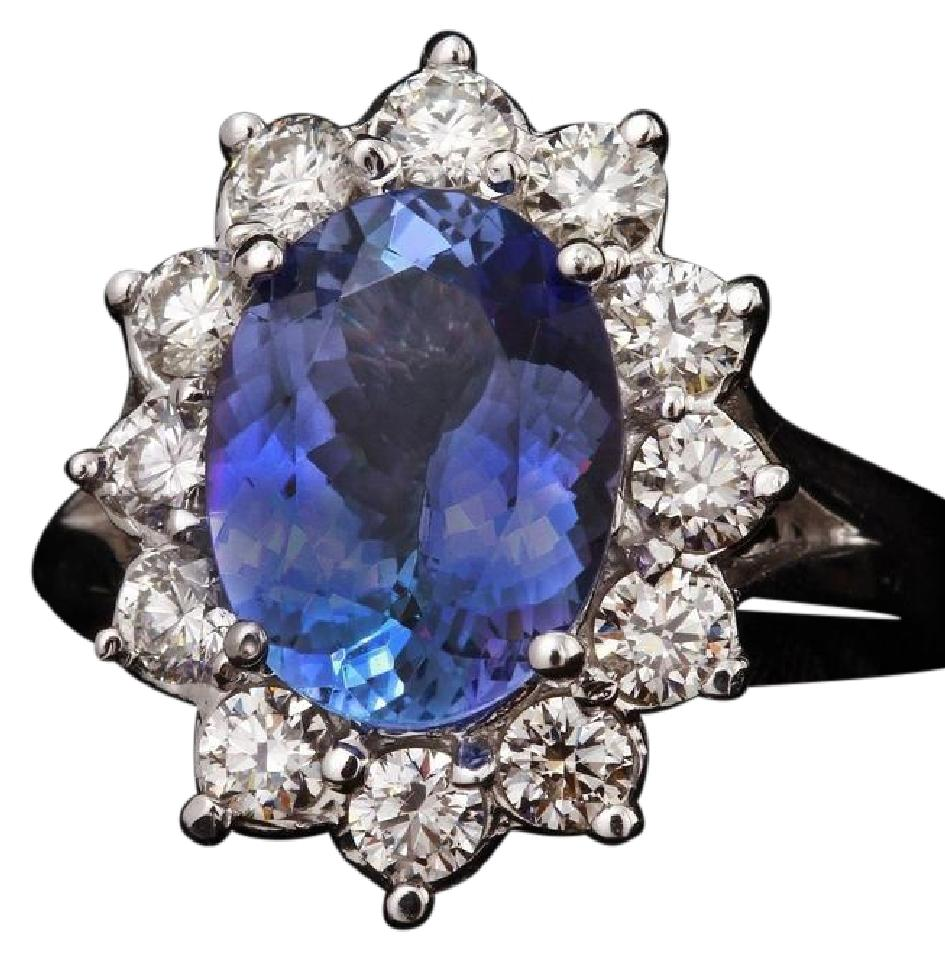 5.42 Carats Natural Very Nice Looking Tanzanite and Diamond 14K Solid White Gold Ring