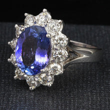 Load image into Gallery viewer, 5.42 Carats Natural Very Nice Looking Tanzanite and Diamond 14K Solid White Gold Ring