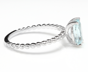 1.00 Carat Exquisite Natural Aquamarine 14K Solid White Gold Ring
