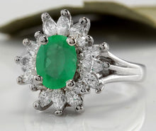 Load image into Gallery viewer, 2.65 Carats Natural Colombian Emerald and Diamond 14K Solid White Gold Ring