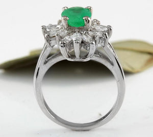 2.65 Carats Natural Colombian Emerald and Diamond 14K Solid White Gold Ring