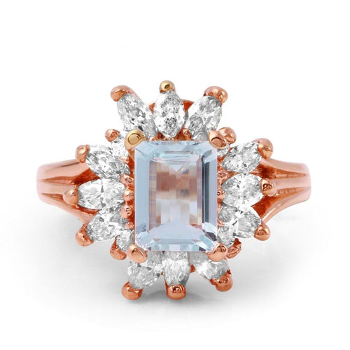 2.70 Carats Natural Aquamarine and Diamond 14K Solid Rose Gold Ring
