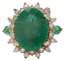 Load image into Gallery viewer, 6.42 Carats Natural Emerald and Diamond 14K Solid Yellow Gold Ring
