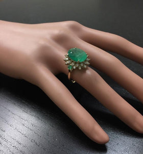 6.42 Carats Natural Emerald and Diamond 14K Solid Yellow Gold Ring