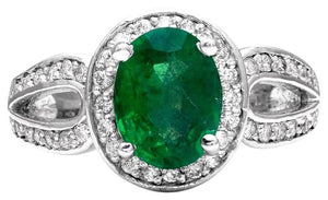 2.90 Carats Natural Emerald and Diamond 14K Solid White Gold Ring