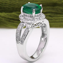 Load image into Gallery viewer, 2.90 Carats Natural Emerald and Diamond 14K Solid White Gold Ring