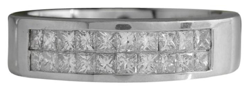 1.20 Carats Natural VS1 Diamond 14K Solid White Gold Unisex Ring