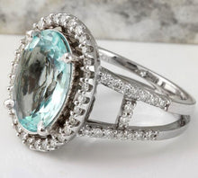 Load image into Gallery viewer, 4.75 Carats Natural Aquamarine and Diamond 14K Solid White Gold Ring