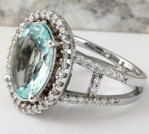 4.75 Carats Natural Aquamarine and Diamond 14K Solid White Gold Ring