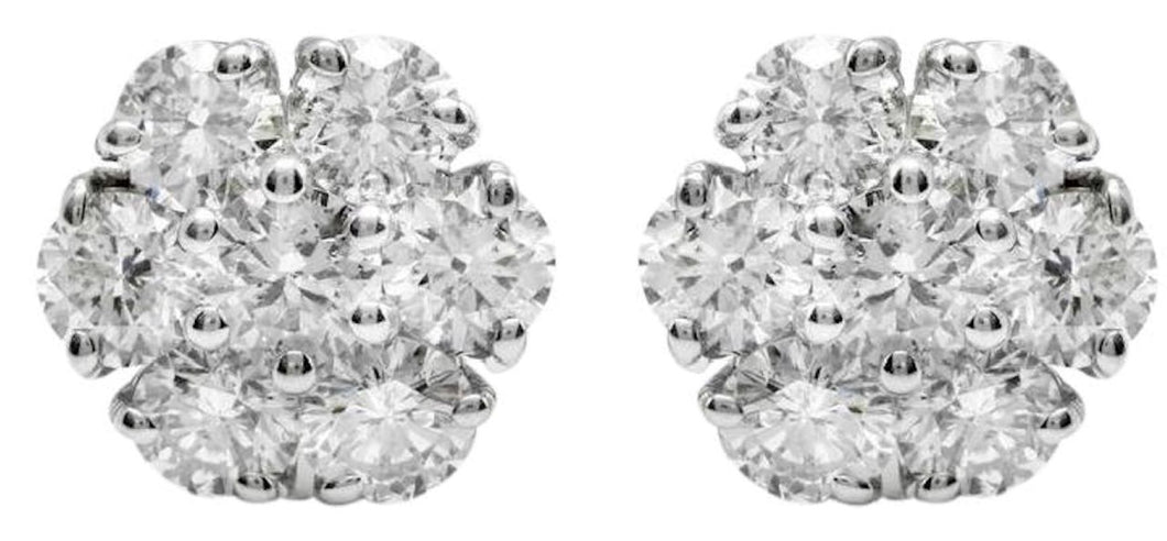 2.55 Carats Natural Diamond 14K Solid White Gold Stud Earrings