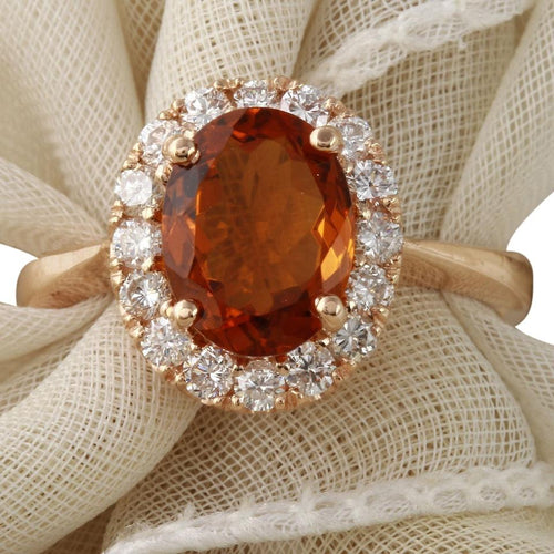 2.35 Carats Exquisite Natural Madeira Citrine and Diamond 14K Solid Rose Gold Ring