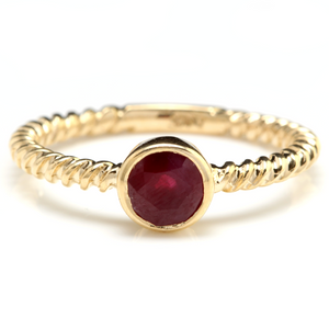 0.80 Carats Exquisite Natural Ruby 14K Solid Yellow Gold Ring