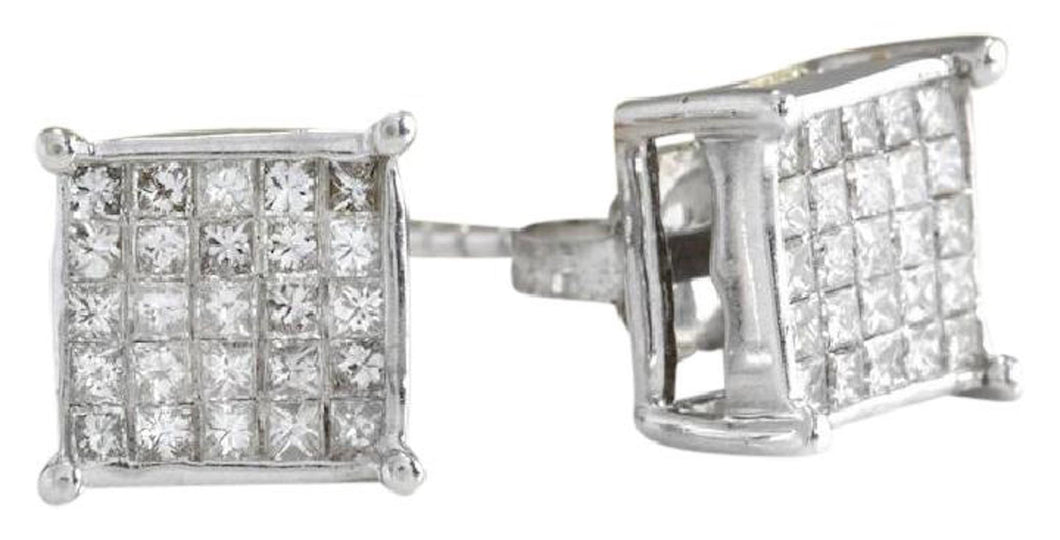 Exquisite 1.25 Carats Natural Diamond 14K Solid White Gold Stud Earrings