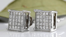 Load image into Gallery viewer, Exquisite 1.25 Carats Natural Diamond 14K Solid White Gold Stud Earrings
