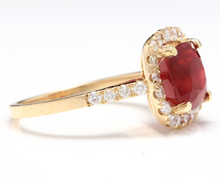 Load image into Gallery viewer, 4.60 Carats Impressive Red Ruby and Natural Diamond 14K Yellow Gold Ring