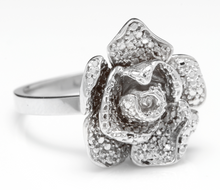 Load image into Gallery viewer, Beautiful 14K Solid White Gold Flower Ring