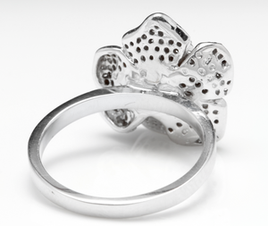 Beautiful 14K Solid White Gold Flower Ring