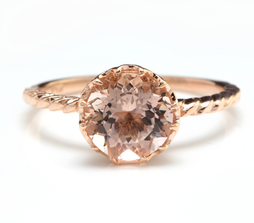 2.00 Carats Exquisite Natural Morganite 14K Solid Rose Gold Ring