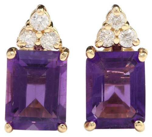 Exquisite 3.20 Carats Natural Amethyst and Diamond 14K Solid Yellow Gold Earrings