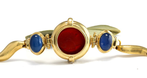 GIROVI Very Impressive Cameo Carnelian Inlay and Sapphire 18K Solid Yellow Gold Designer Bracelet